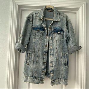 On trend oversized distressed denim jacket